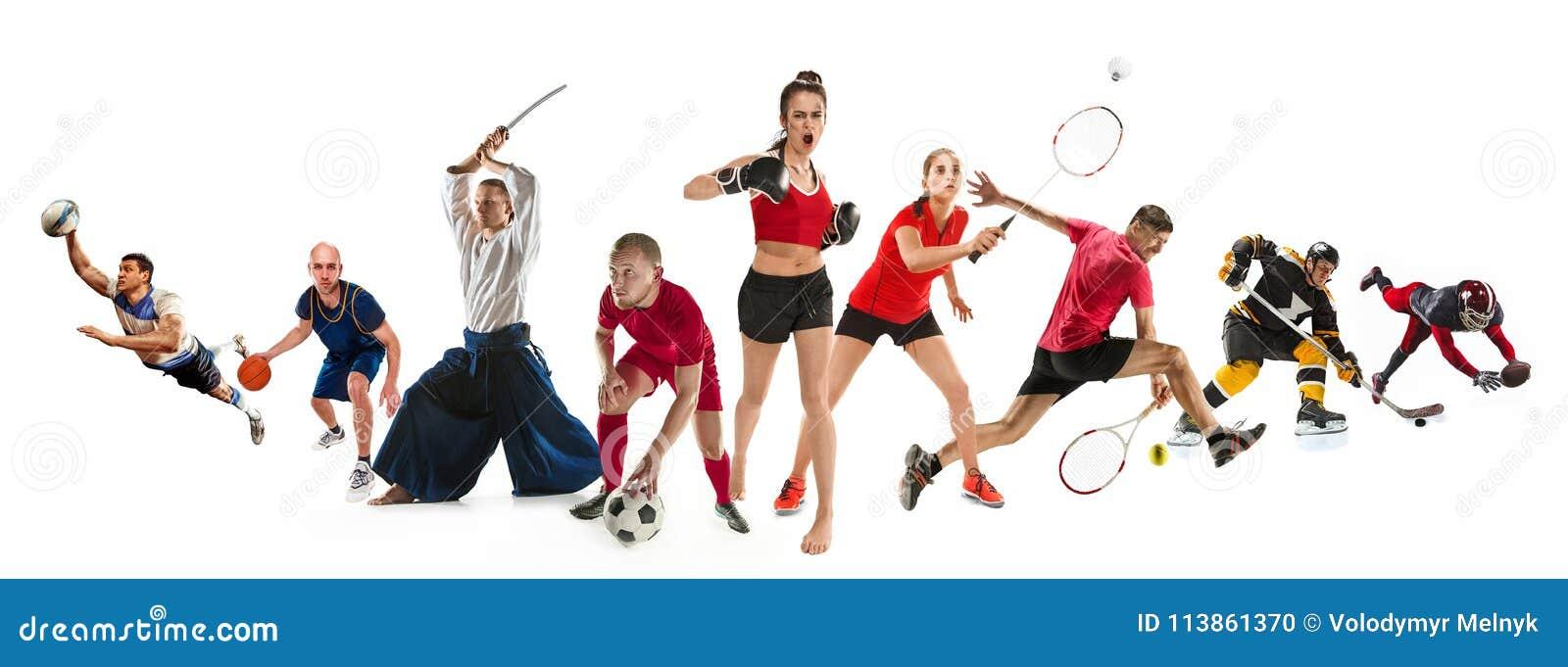 Diviértase el collage sobre kickboxing, fútbol, fútbol americano, baloncesto, hockey sobre hielo, bádminton, aikido, tenis, rugbi