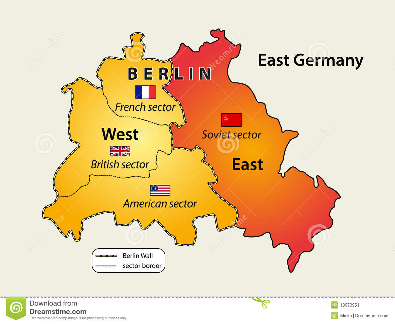 Divided Berlin stock vector Illustration of east german