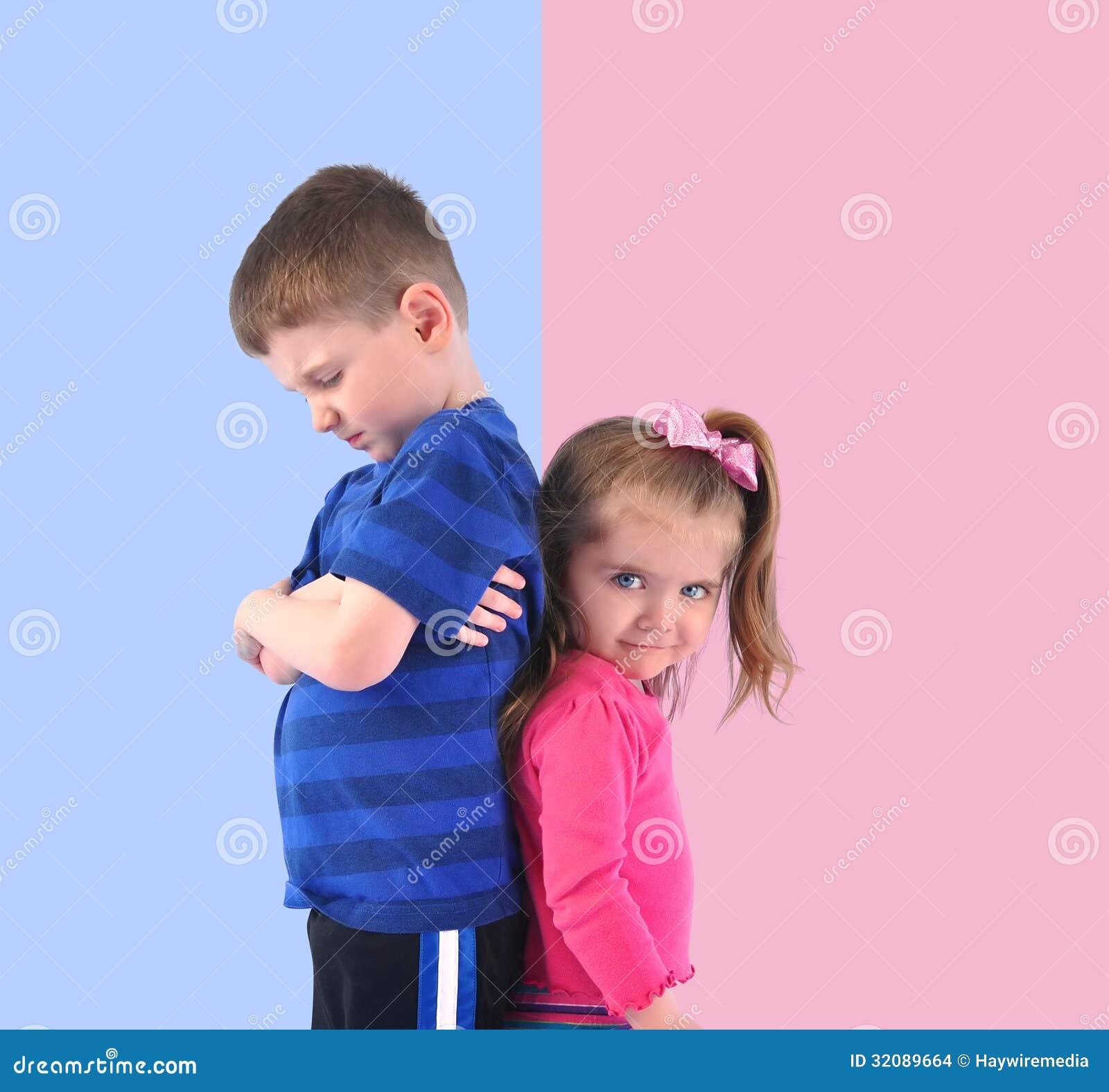 Divided Upset Children Back To Back Stock Photo - Image ...