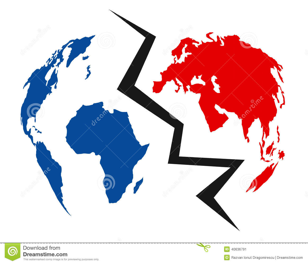 divided world concept illustration representing earth map blue red colours 40636791