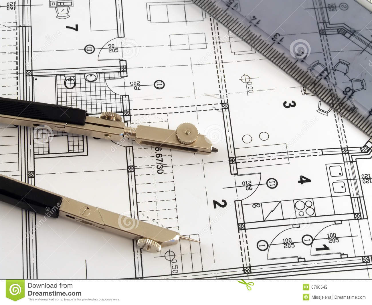 Divider and ruler on architectural plan stock photo for Architecture design blueprint