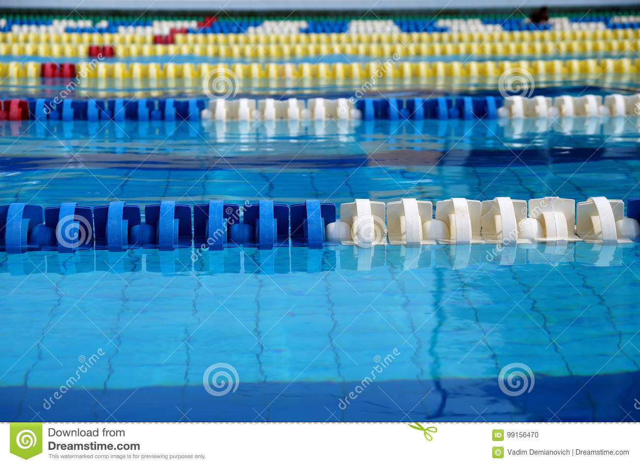 Dividers Of Paths In The Big Swimming Pool Stock Photo ...