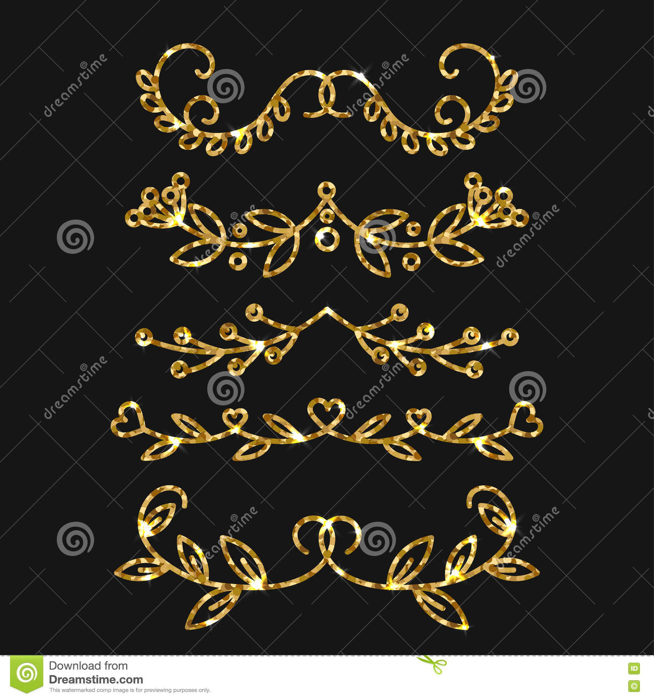 36a775529615 Dividers Set. Vector Gold Ornate Design. Golden Flourishes. Stock ...