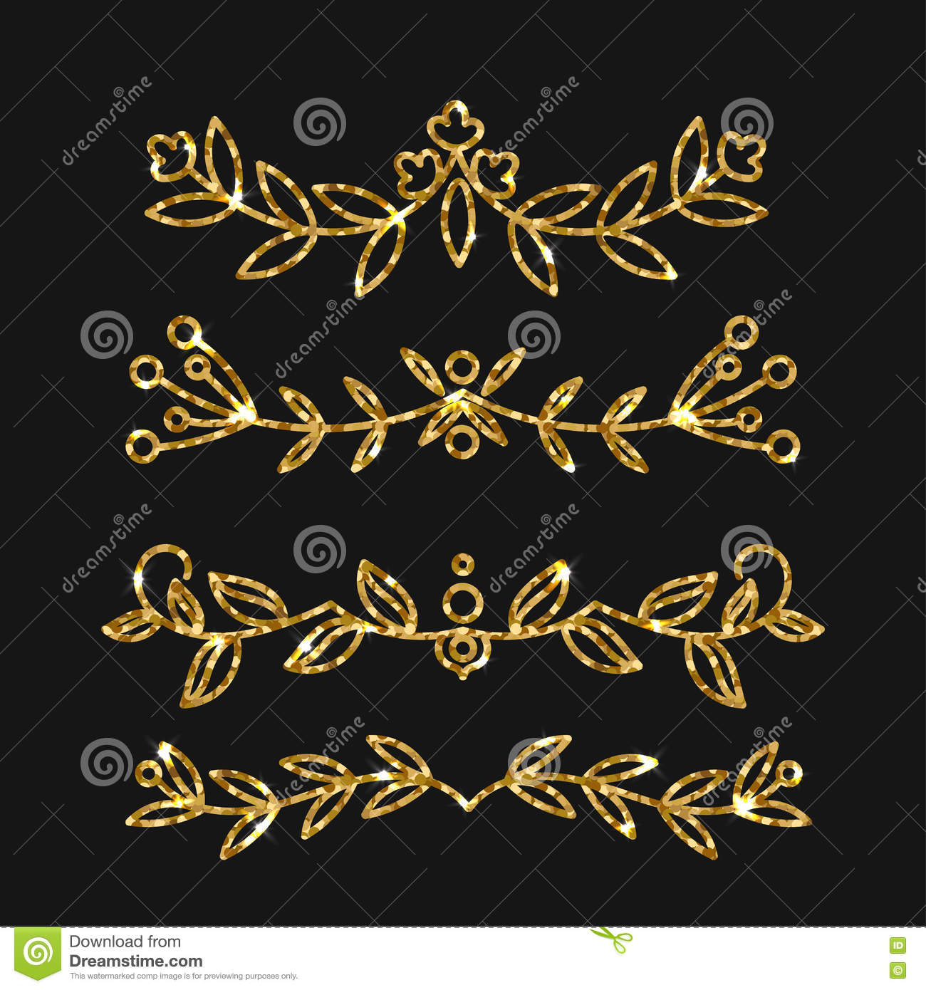 ec8112494c2c Dividers set. Vector gold ornate design. Golden flourishes. Hand drawn  decorative swirls with glitter effect. Calligraphic decorations with  sparkles.