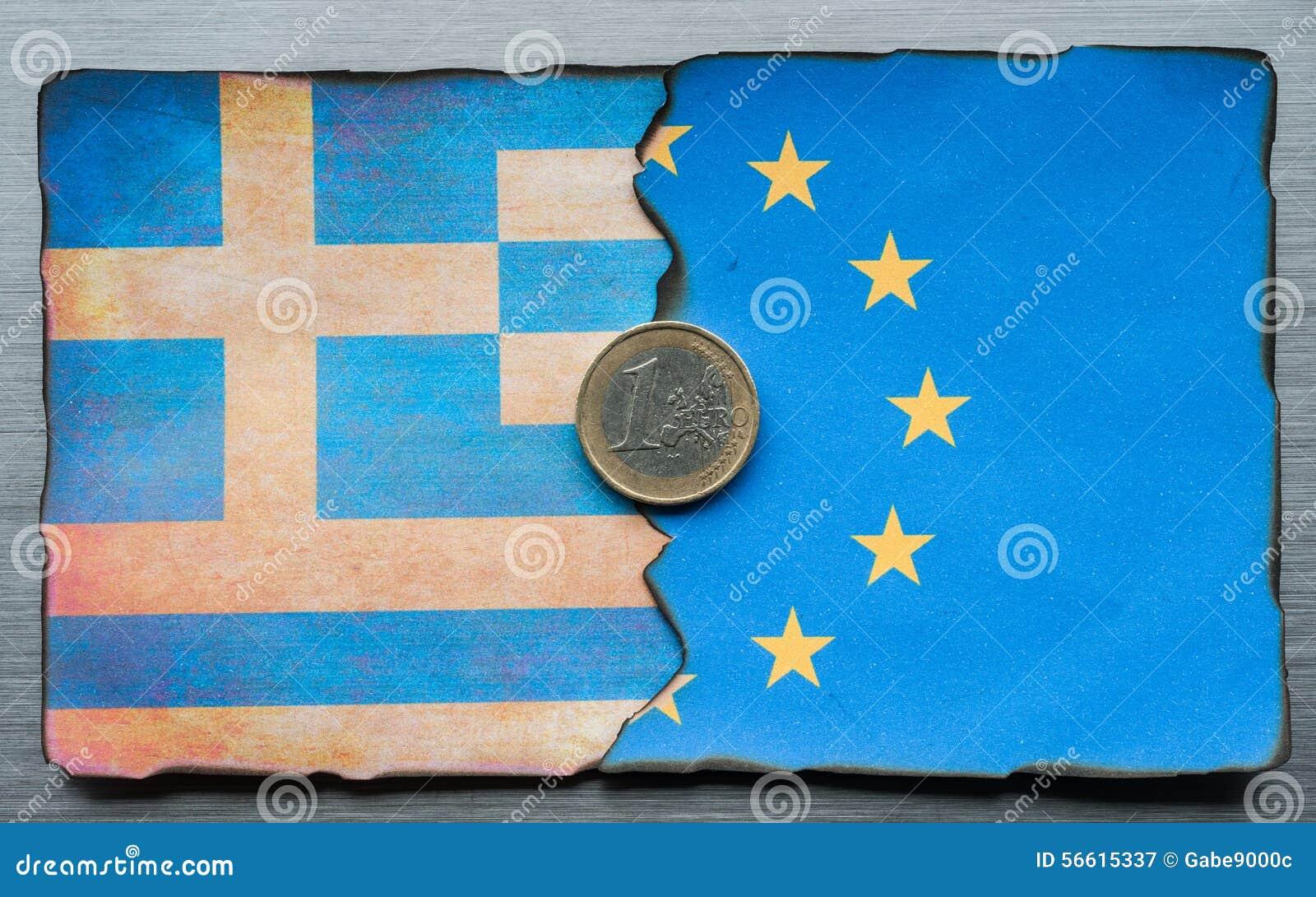 Dividir-se grego da bandeira do Euro