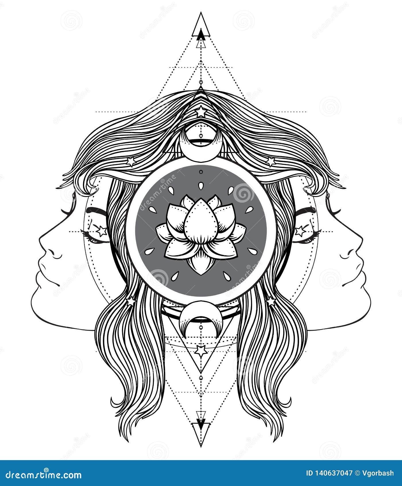 Divine Goddess  Black And White Girl Over Sacred Geometry Sign