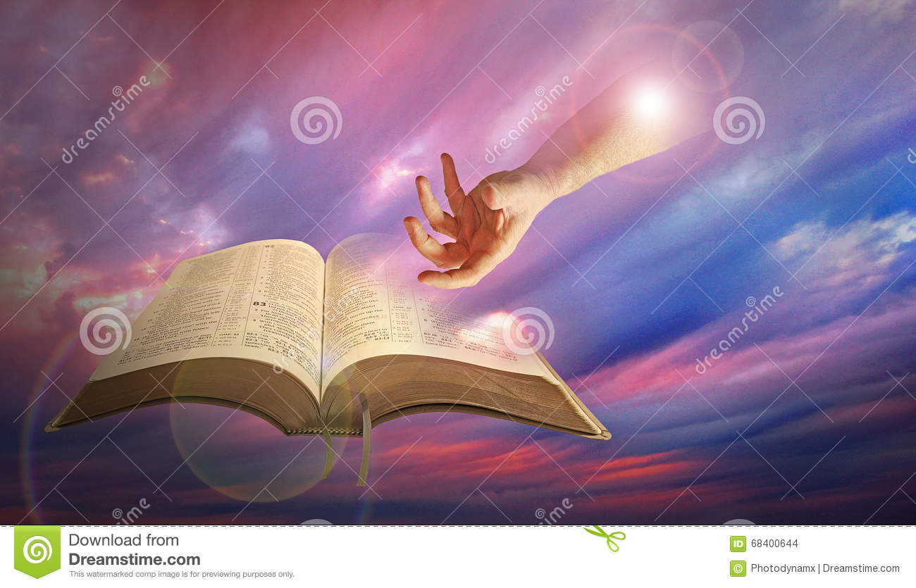 Divine Hand Of God With Bible Stock Photo Image Of