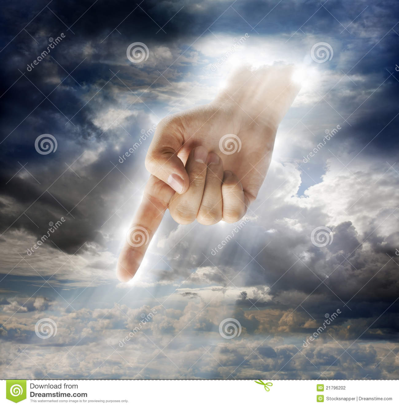 Divine Intervention Stock Photo Image Of Down Pointing