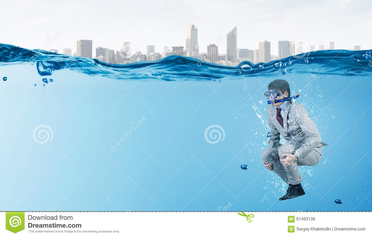 Diving Businessman . Concept Image Royalty-Free Stock ...