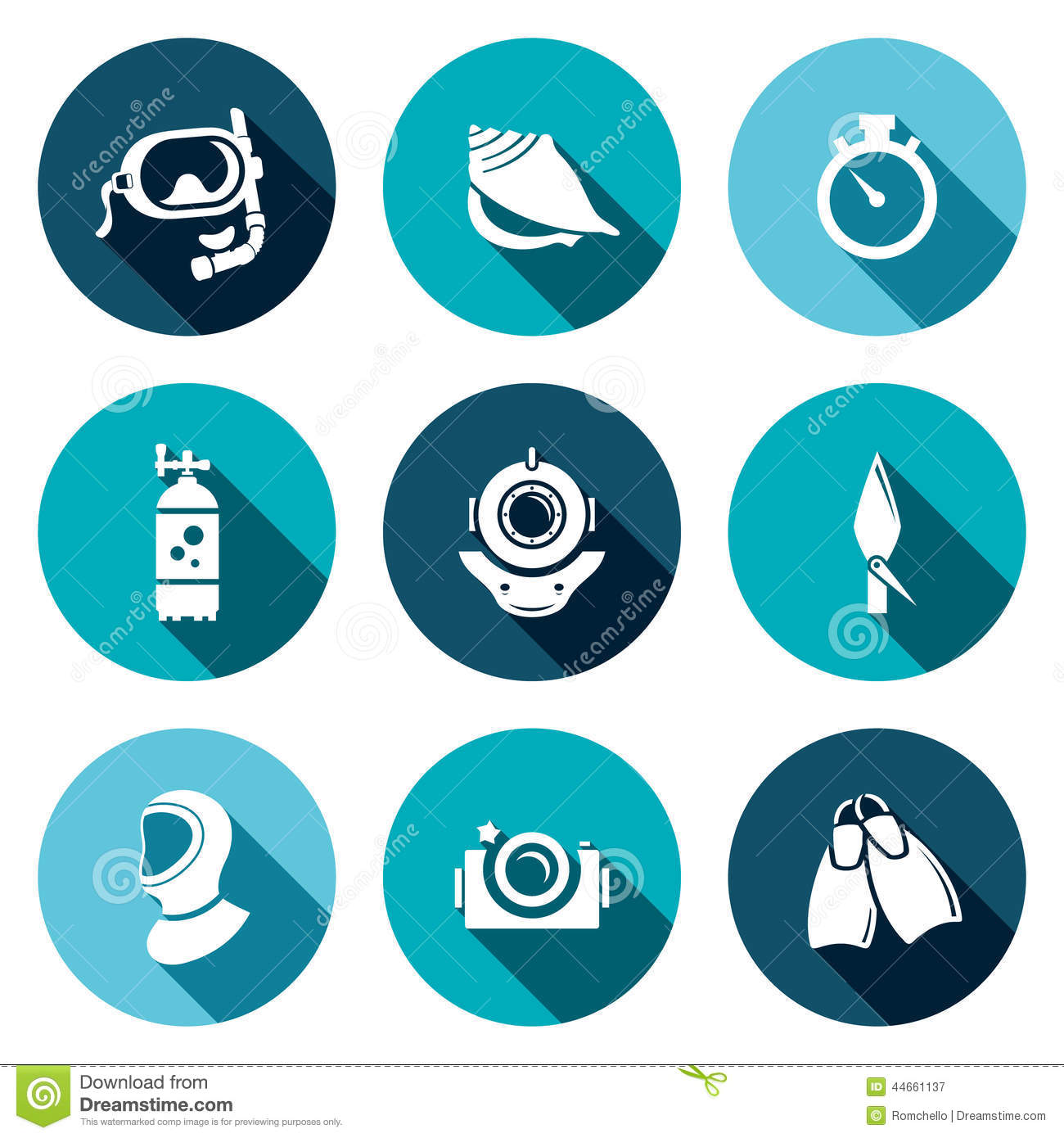 Diving Flat Icons Set Stock Illustration - Image: 44661137