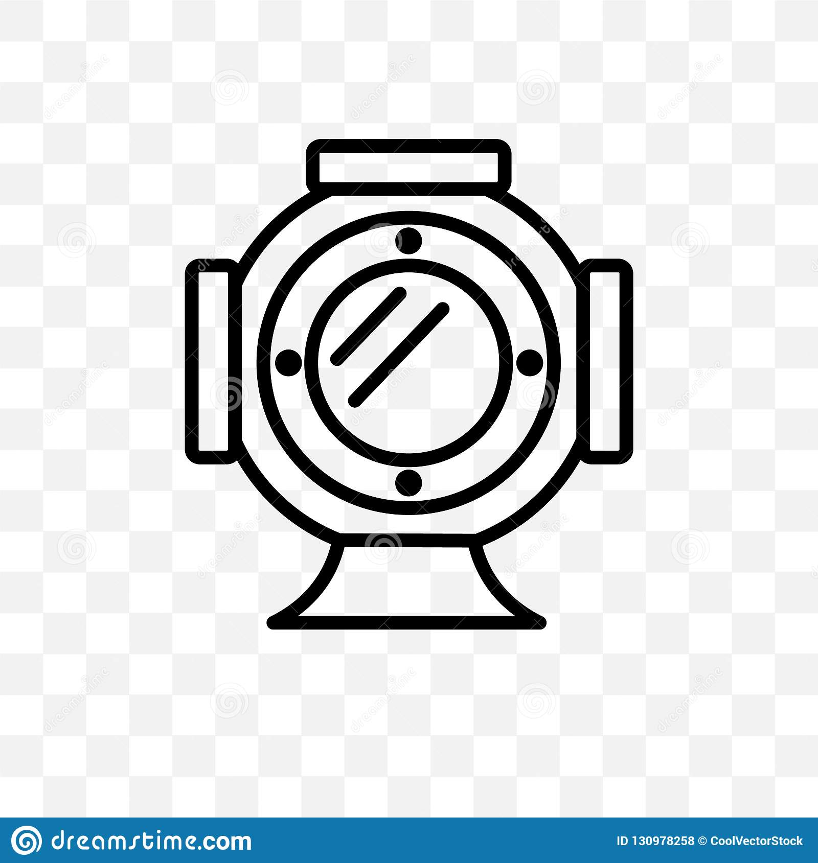 Diving Helmet Vector Linear Icon Isolated On Transparent