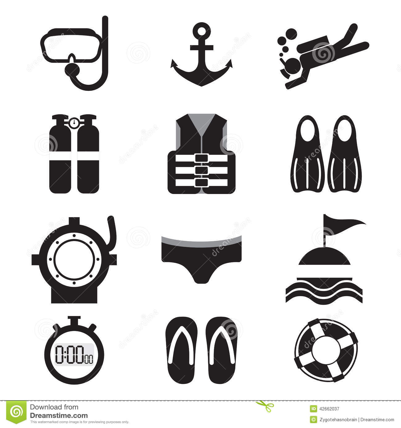 Diving Icon Set Vector Illustration.