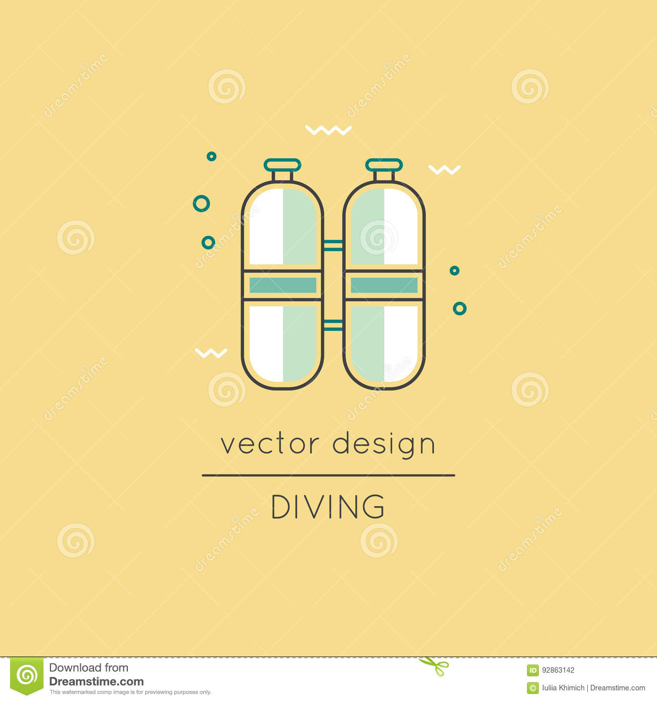 Diving Line Icon Stock Vector Illustration Of Icon Linear 92863142