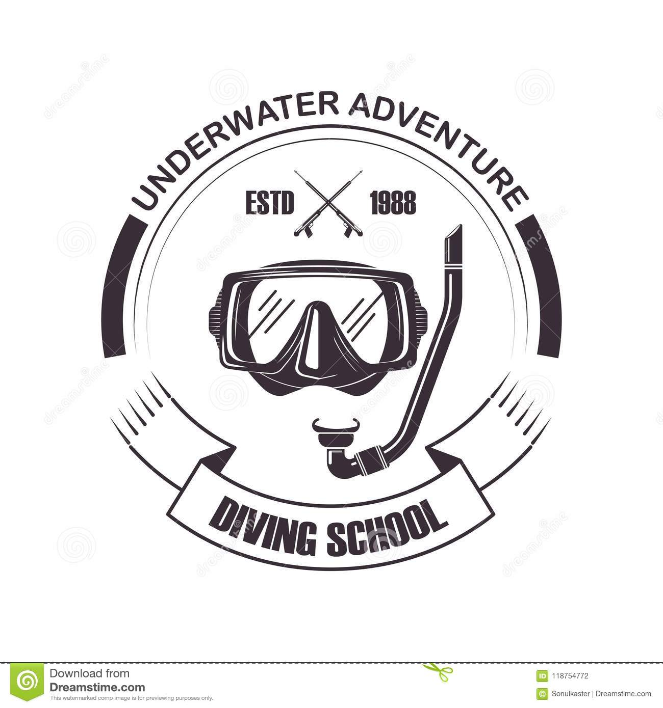 Diving School Or Scuba Diver Club Logo Template Vector Icon Of Snorkeling Pipe And Ribbon For Underwater Adventure