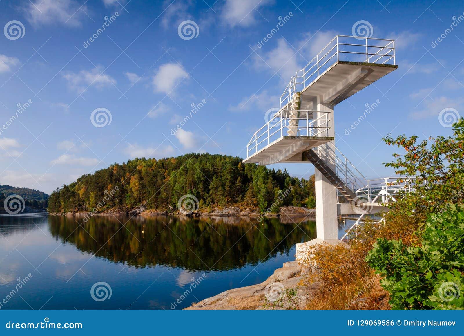 Diving tower in Olavsberget bathing place near Porsgrunn Telemark Norway Scandinavia