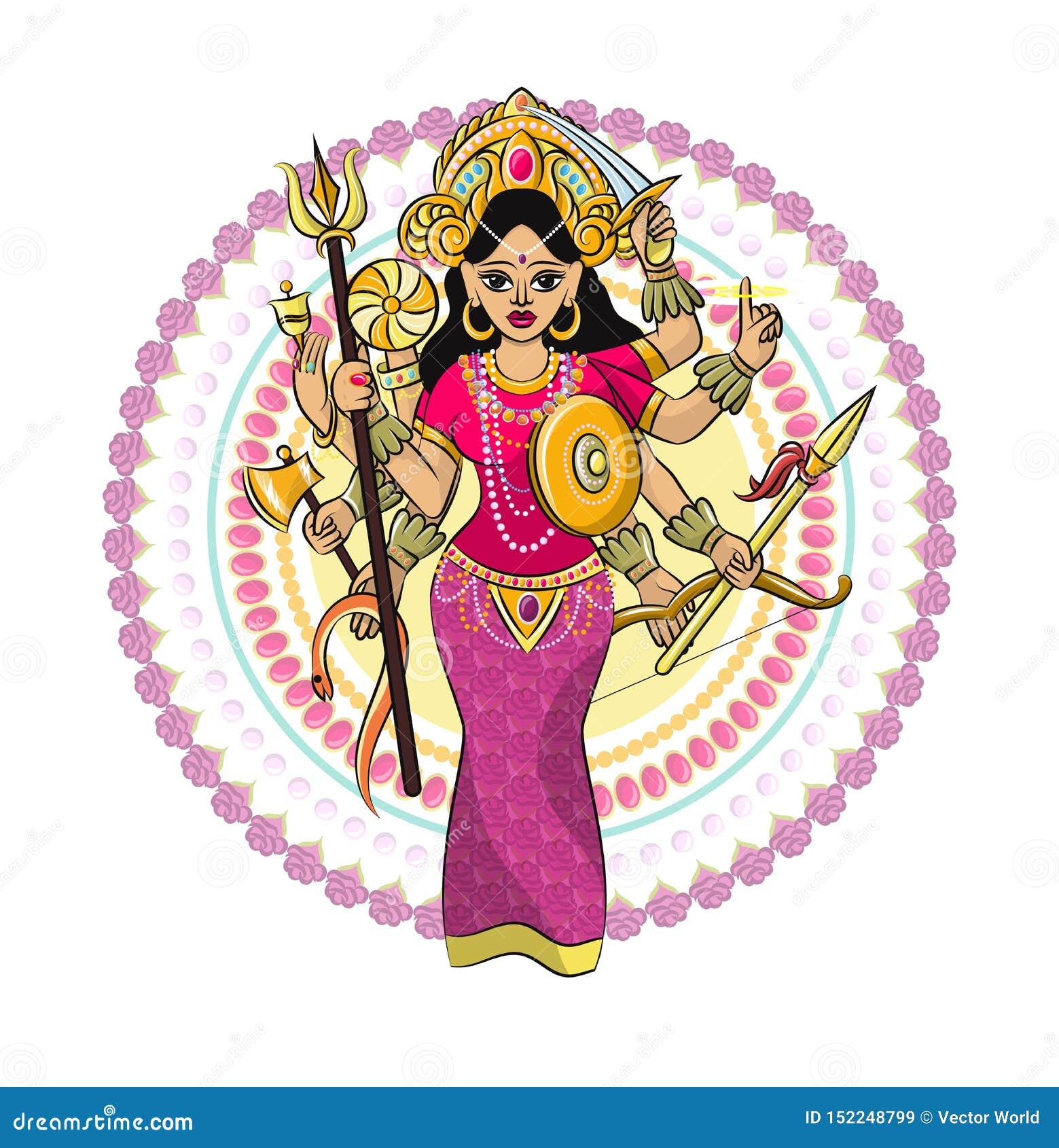 Divinidad india del hinduism del vector de dios de la diosa y del ?dolo divino Ganesha en sistema del ejemplo de la India de la r