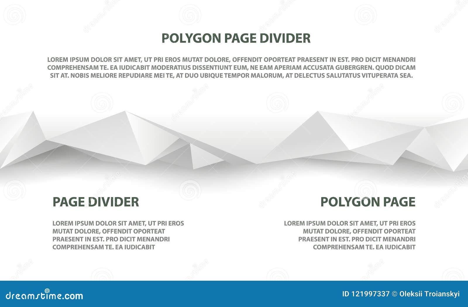 Diviseur sans couture polygonal blanc pour le site Web et la page d atterrissage
