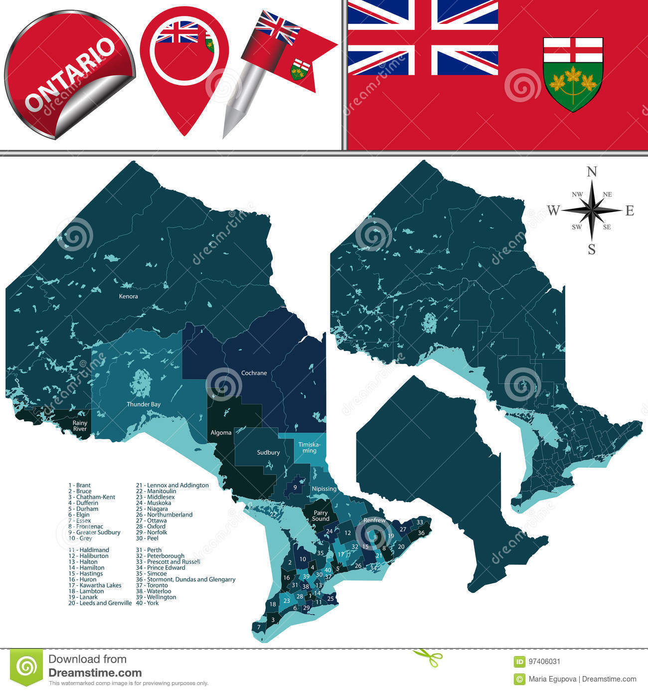 Divisions Of Ontario, Canada Stock Vector - Illustration of america ...