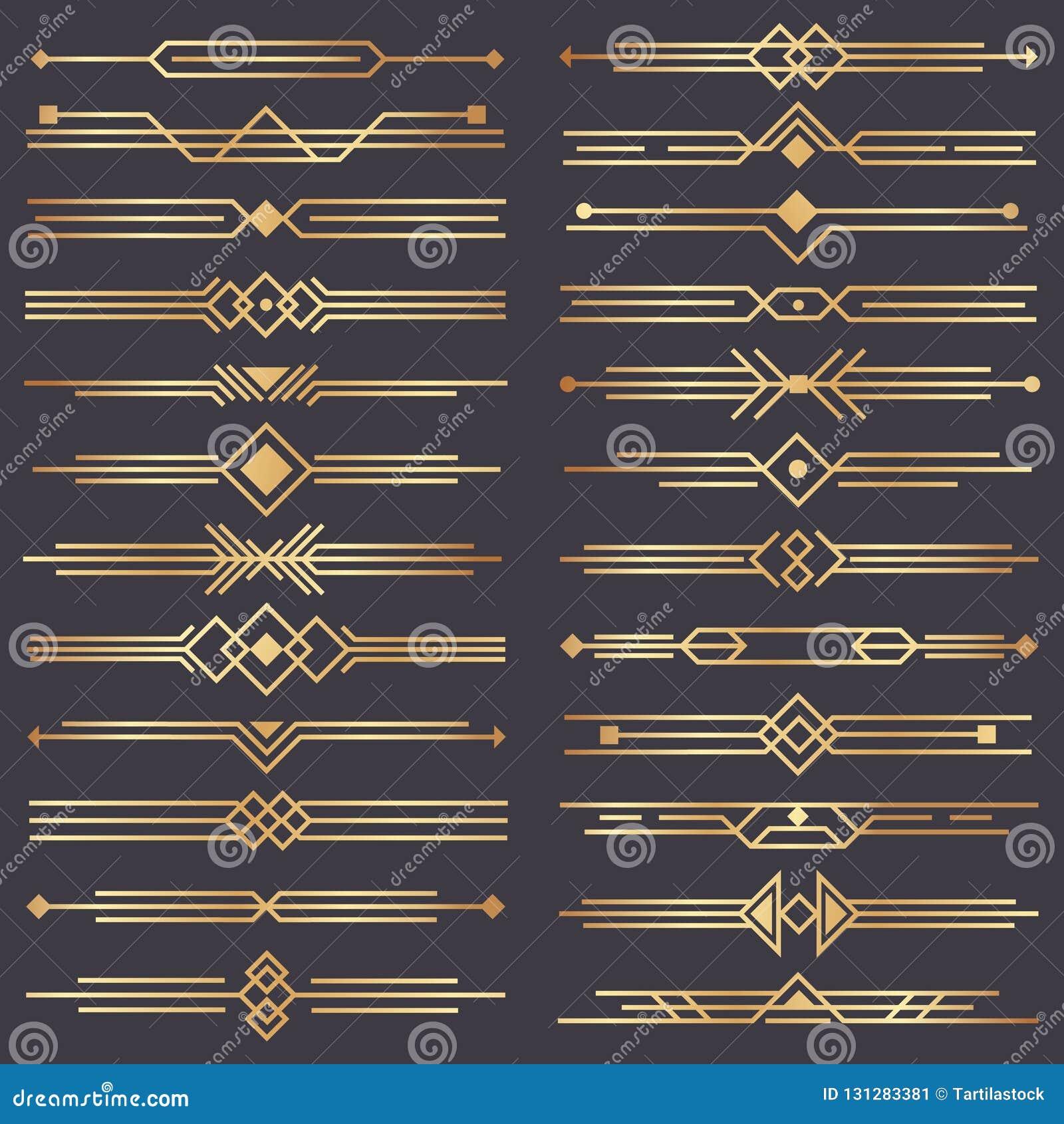Divisor del art déco Artes retros frontera del oro, ornamentos decorativos de los años 20 y sistema de oro del diseño del vector