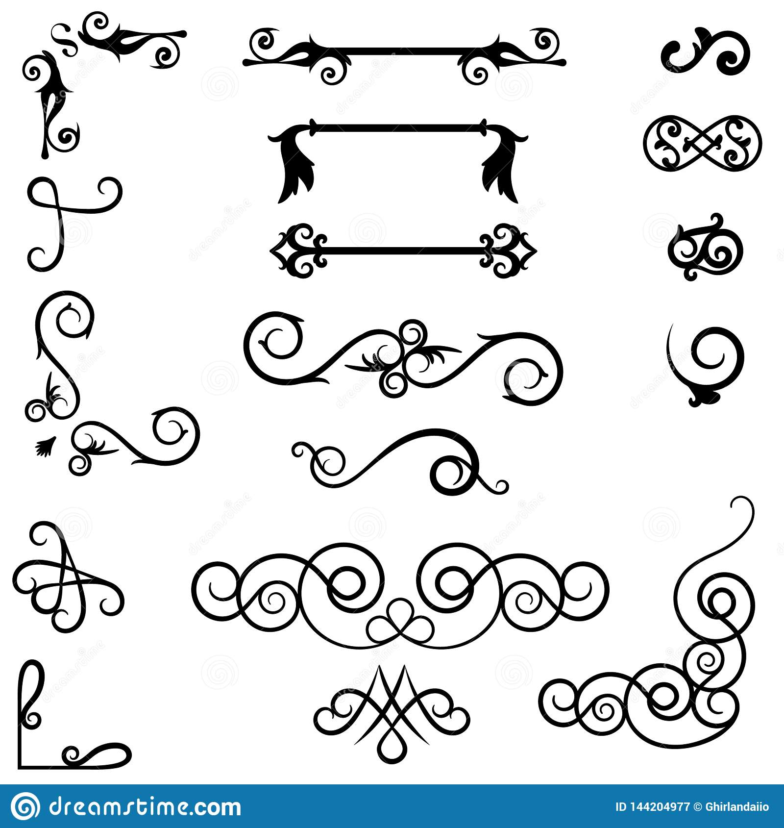 Divisores del ornamento del remolino Elementos decorativos exhaustos de la mano, delimitador viejo del texto, ornamentos caligráf