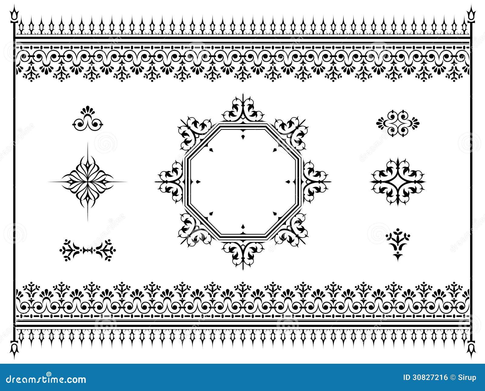 Divisori degli elementi di progettazione dell ornamento con il recinto