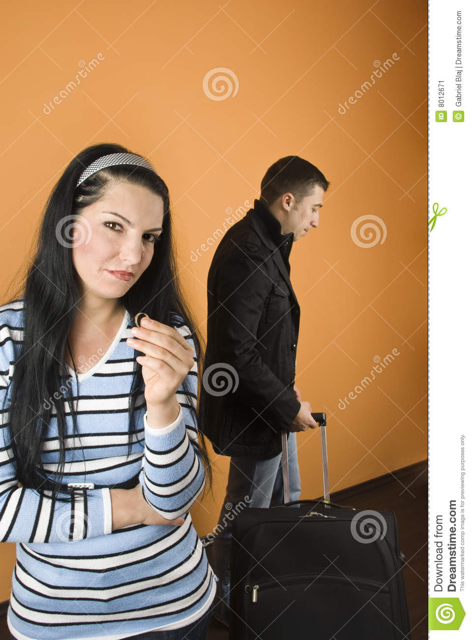 couple dispute separation woman leaving man hold royalty free stock photo. Black Bedroom Furniture Sets. Home Design Ideas
