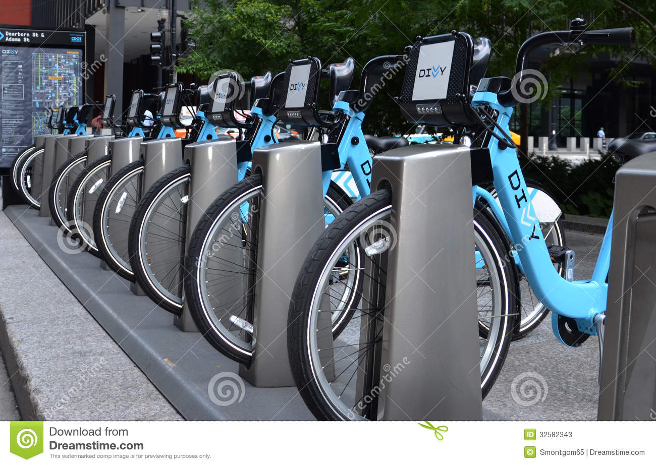Bike Chicago Rental Divvy bike rental station in