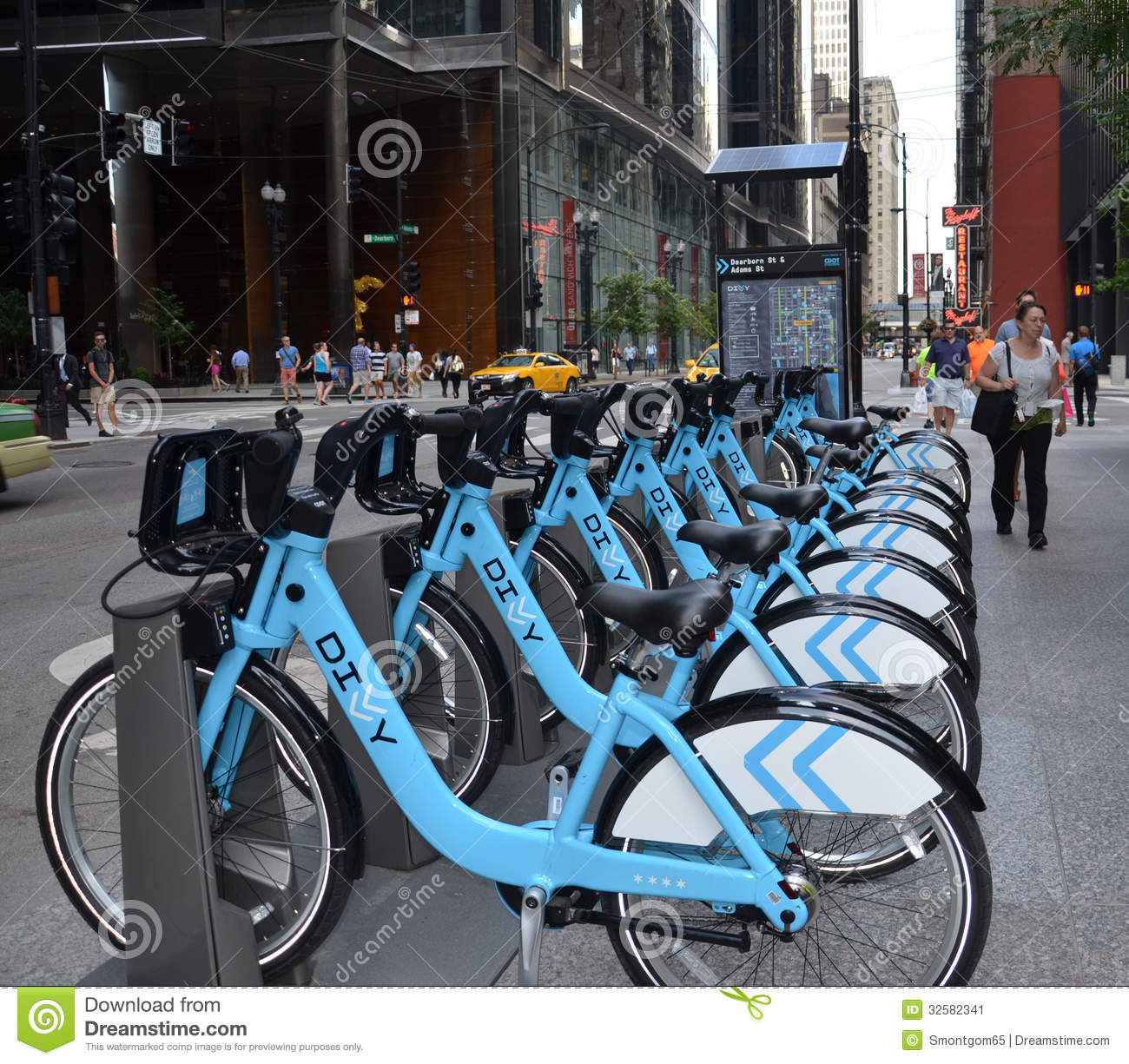 Divvy Bike Rental Station In Downtown Chicago Editorial