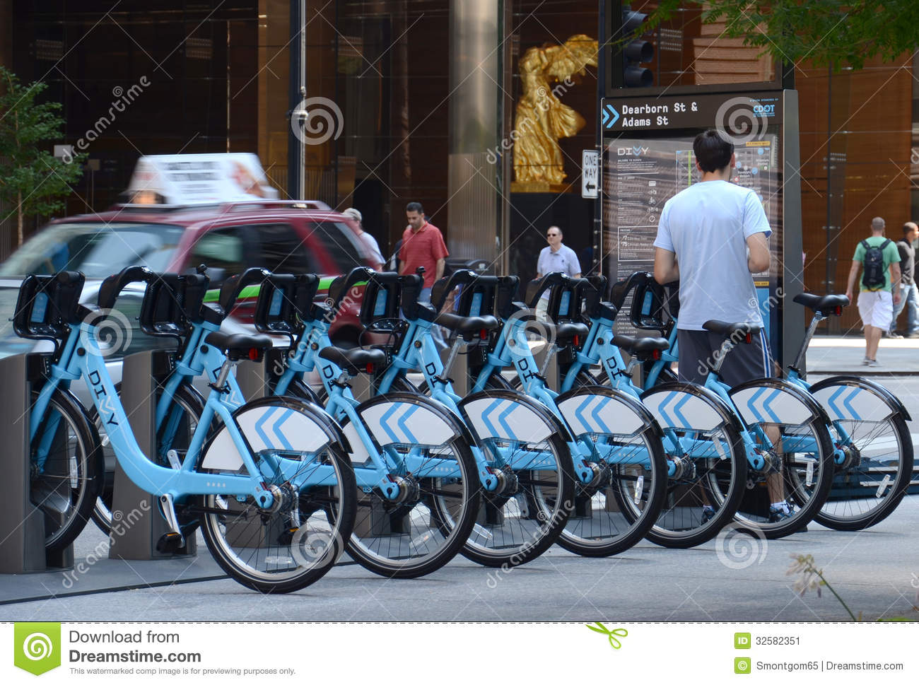 Blue Rental Bikes In Chicago Divvy bike rental station in