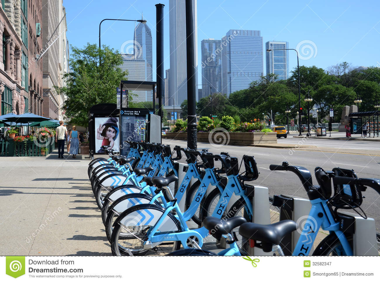 Blue Rental Bikes In Chicago Divvy bike rental station on