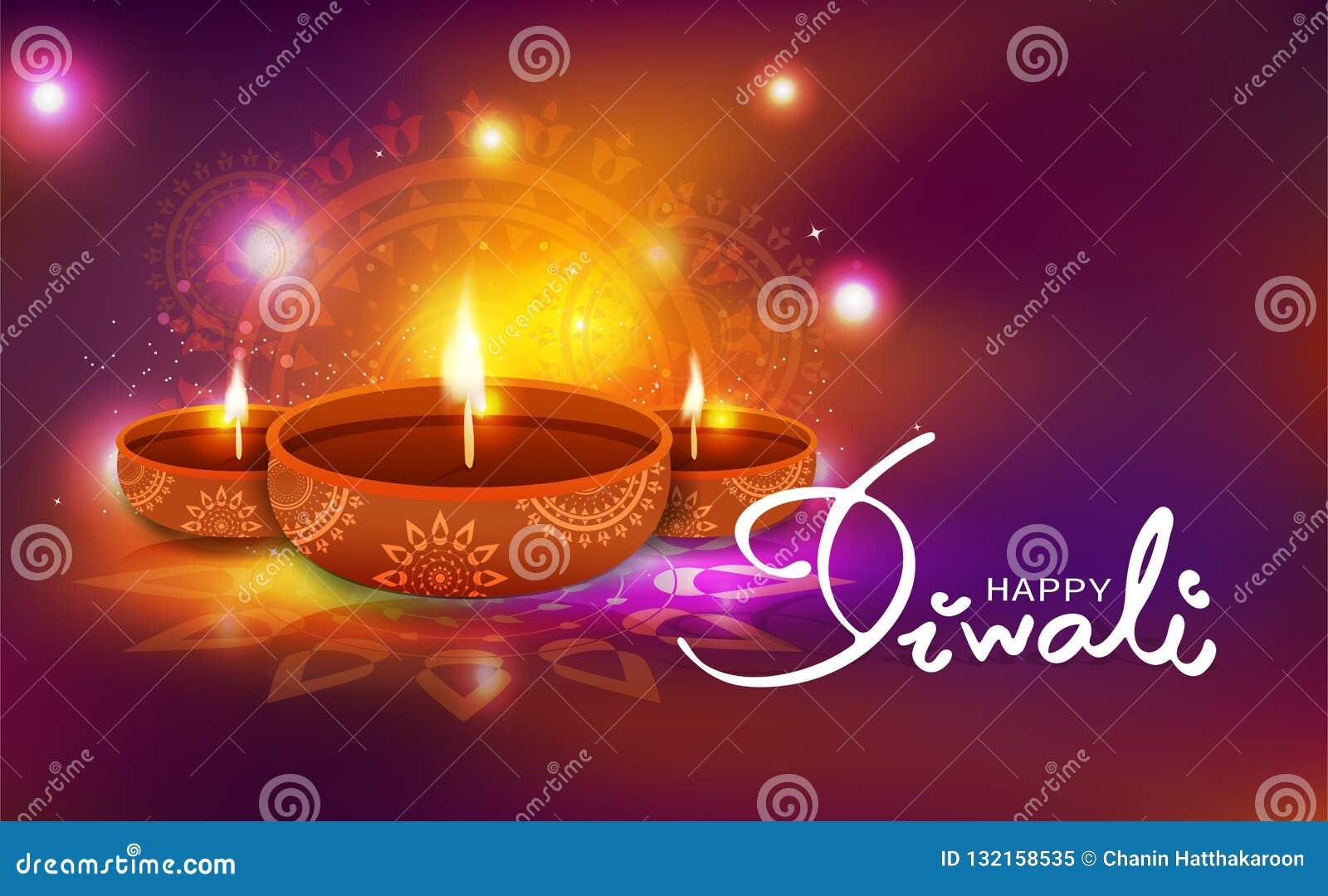 Diwali, świętowanie, nafcianej lampy dekoracja z kwiecisty mandala Hin