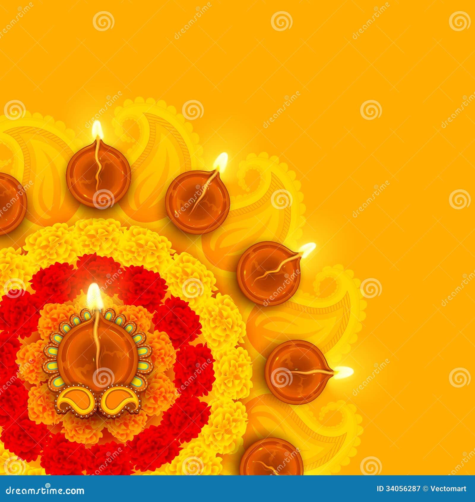 Diwali adornado Diya en la flor Rangoli