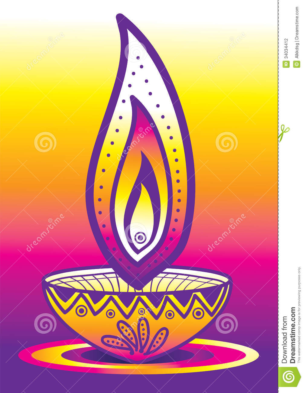 Diwali Candle Light stock vector. Illustration of greet - 34034412 for Diwali Lamp Designs  lp4eri