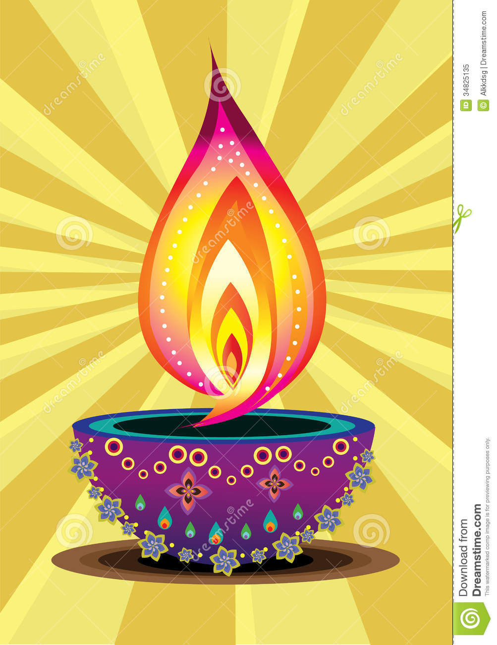 Diwali Candle Light stock vector. Illustration of festival - 34825135 for Diwali Lamp Designs  539wja