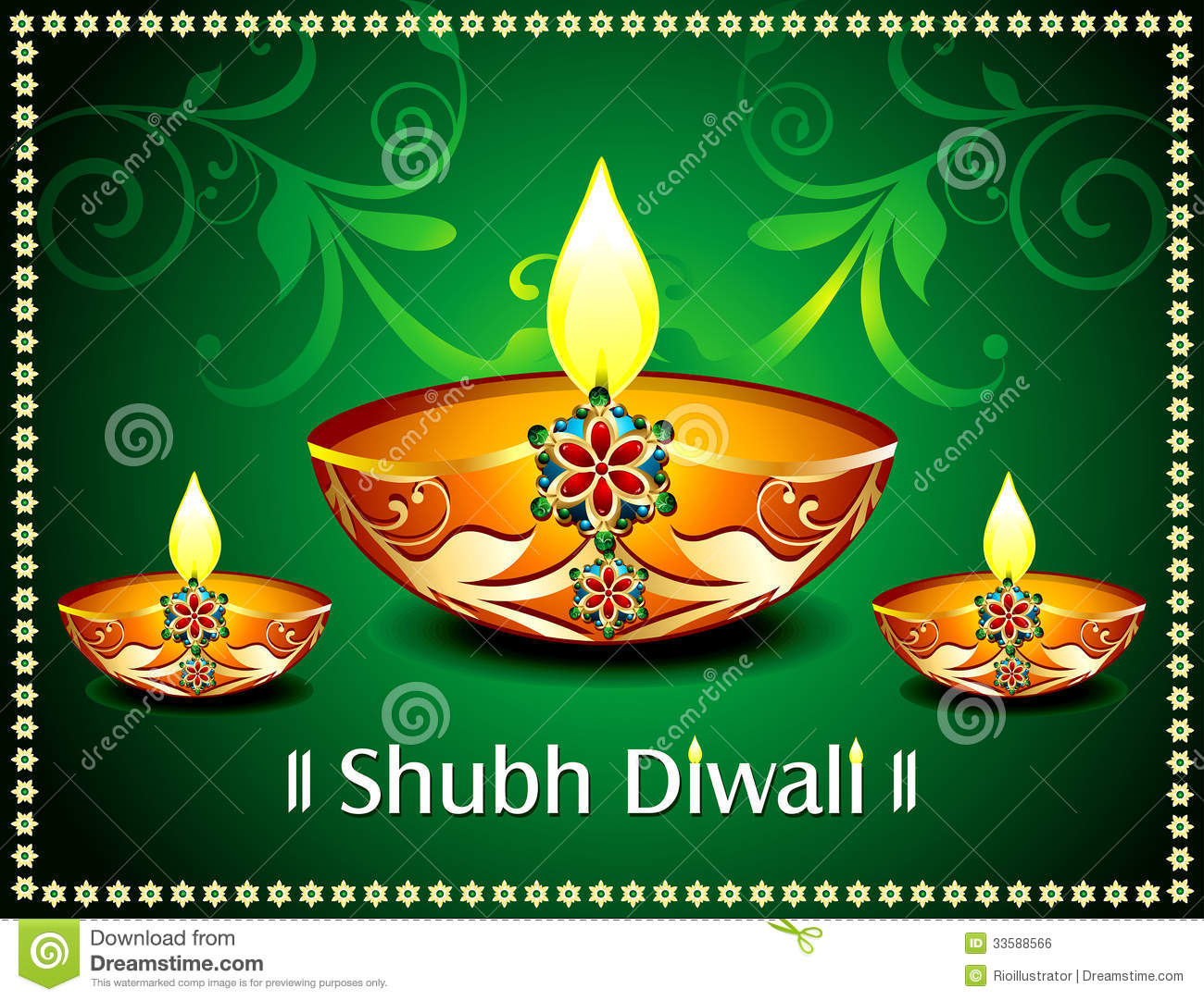 Diwali Card With Floral Stock Vector Illustration Of Lamp 33588566