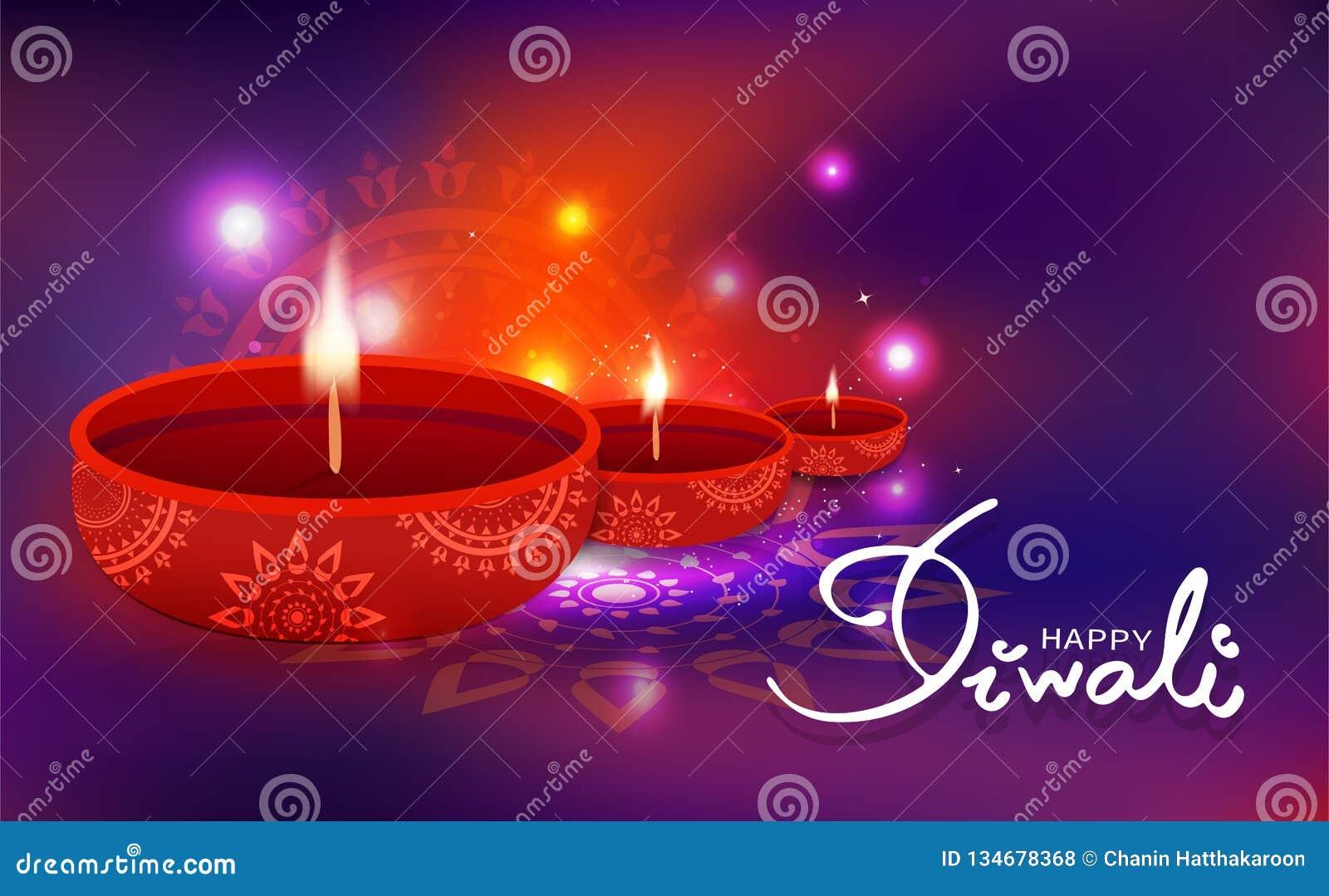 Diwali celebration, oil lamp decoration with floral mandala Hindu religion, light shiny festive blur background vector