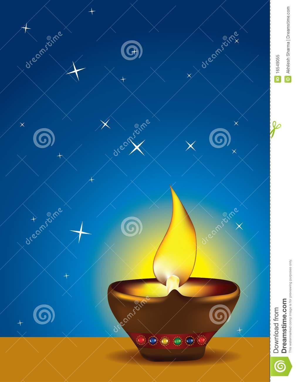 Diwali Diya with blue sky