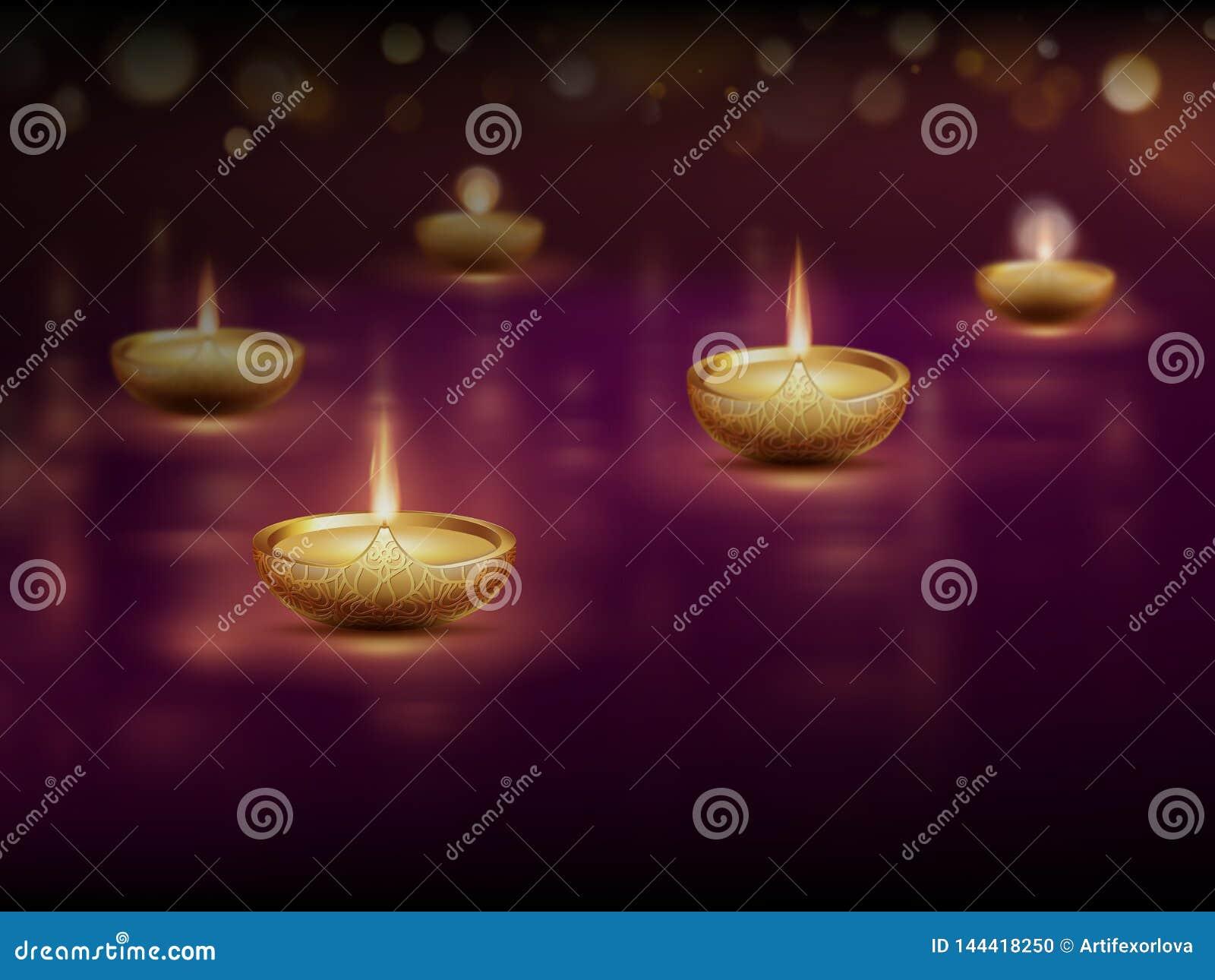 Diwali feliz, molde do cartaz com velas de queimadura das lâmpadas de óleo do diya Eps 10