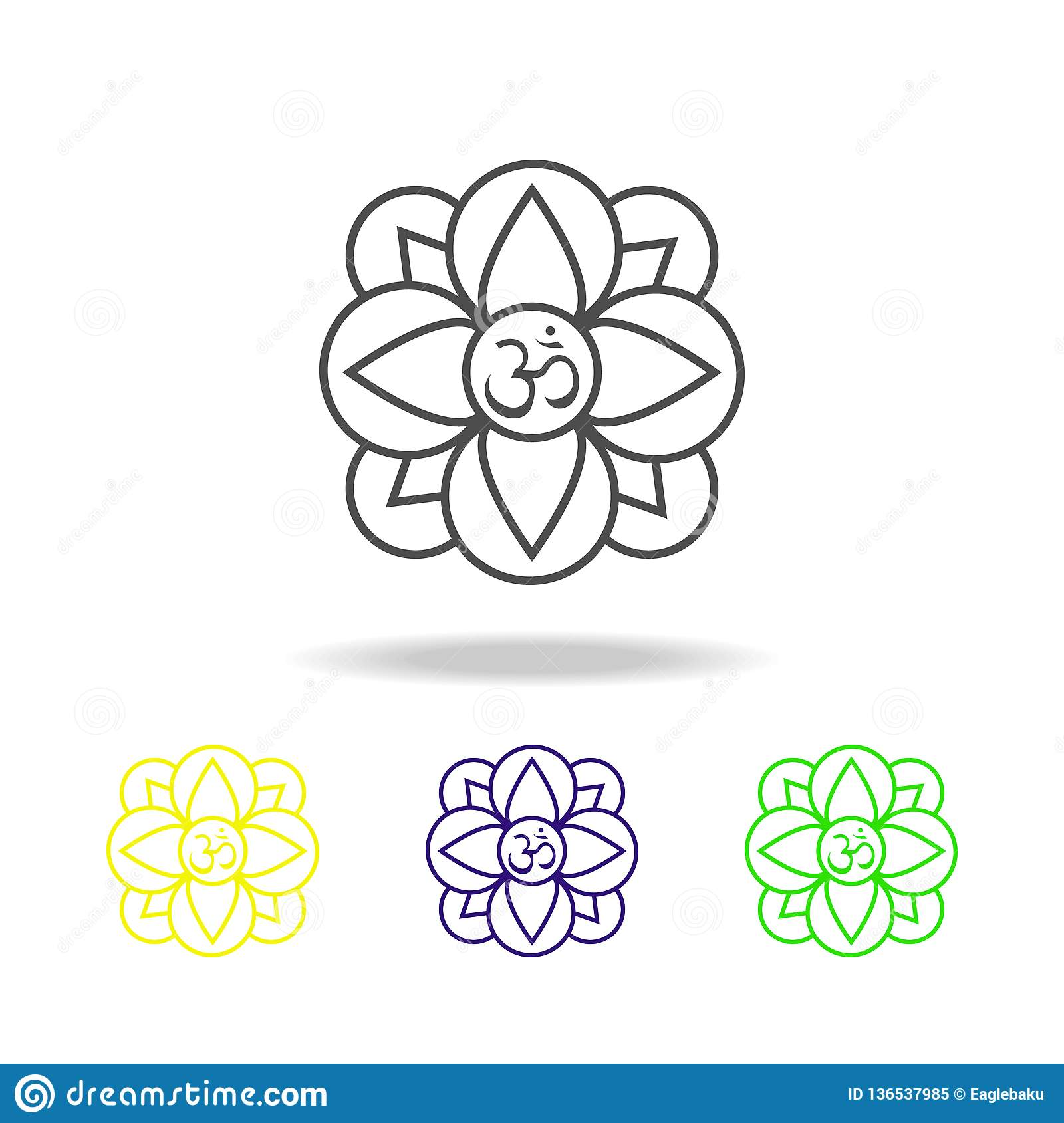 Diwali flower plant hinduism religion belief colored icons on white background. Diwali Hindu festival Indian Holidays elements for