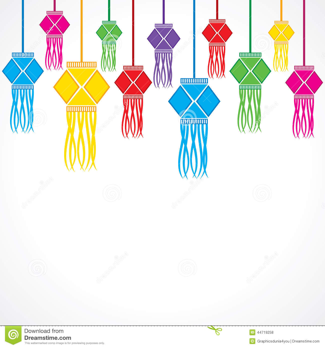 Diwali Greeting Background With Hanging Lamps Stock Vector