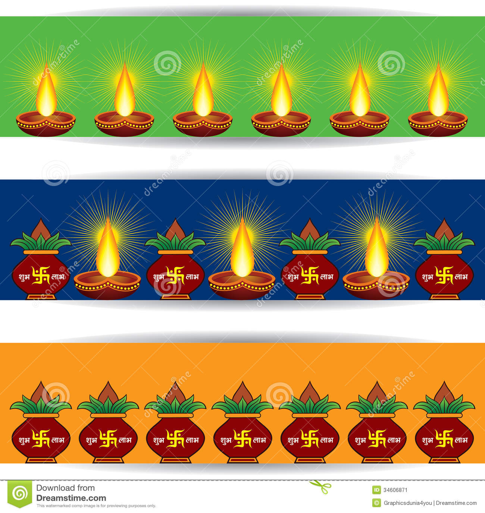 Diwali Greeting Banner For Website Stock Vector Illustration Of