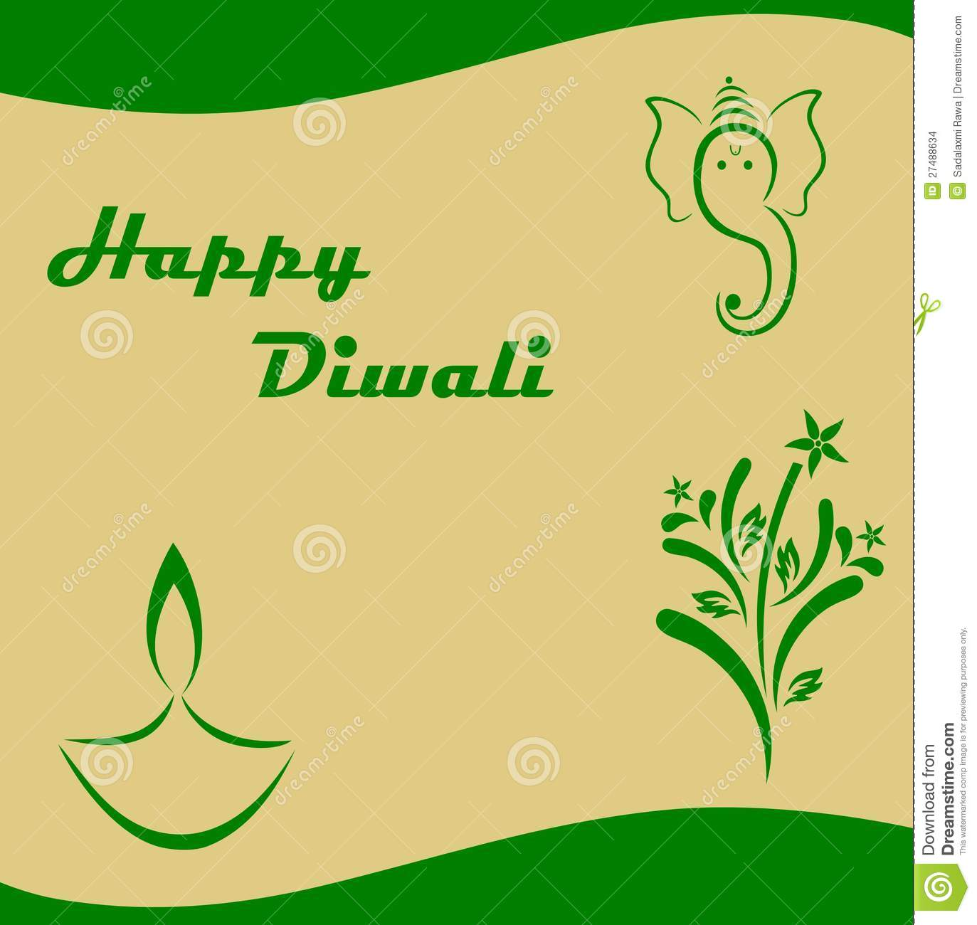 Diwali Greeting Card Stock Vector Illustration Of Lights 27488634