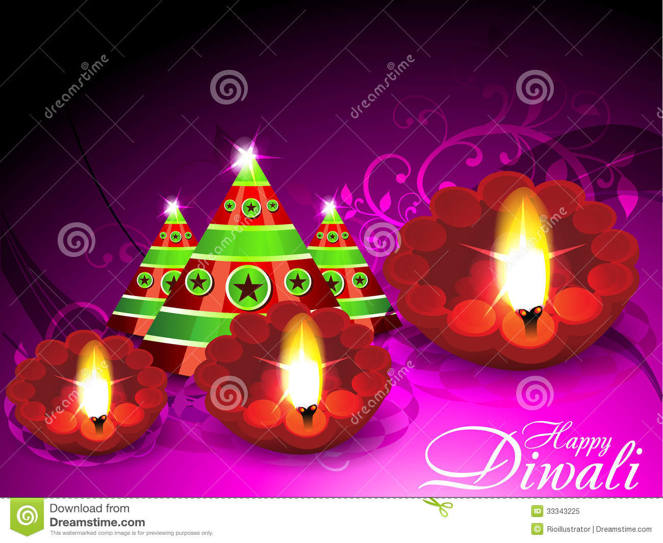 Diwali Greeting Card With Cracker Stock Vector Illustration Of