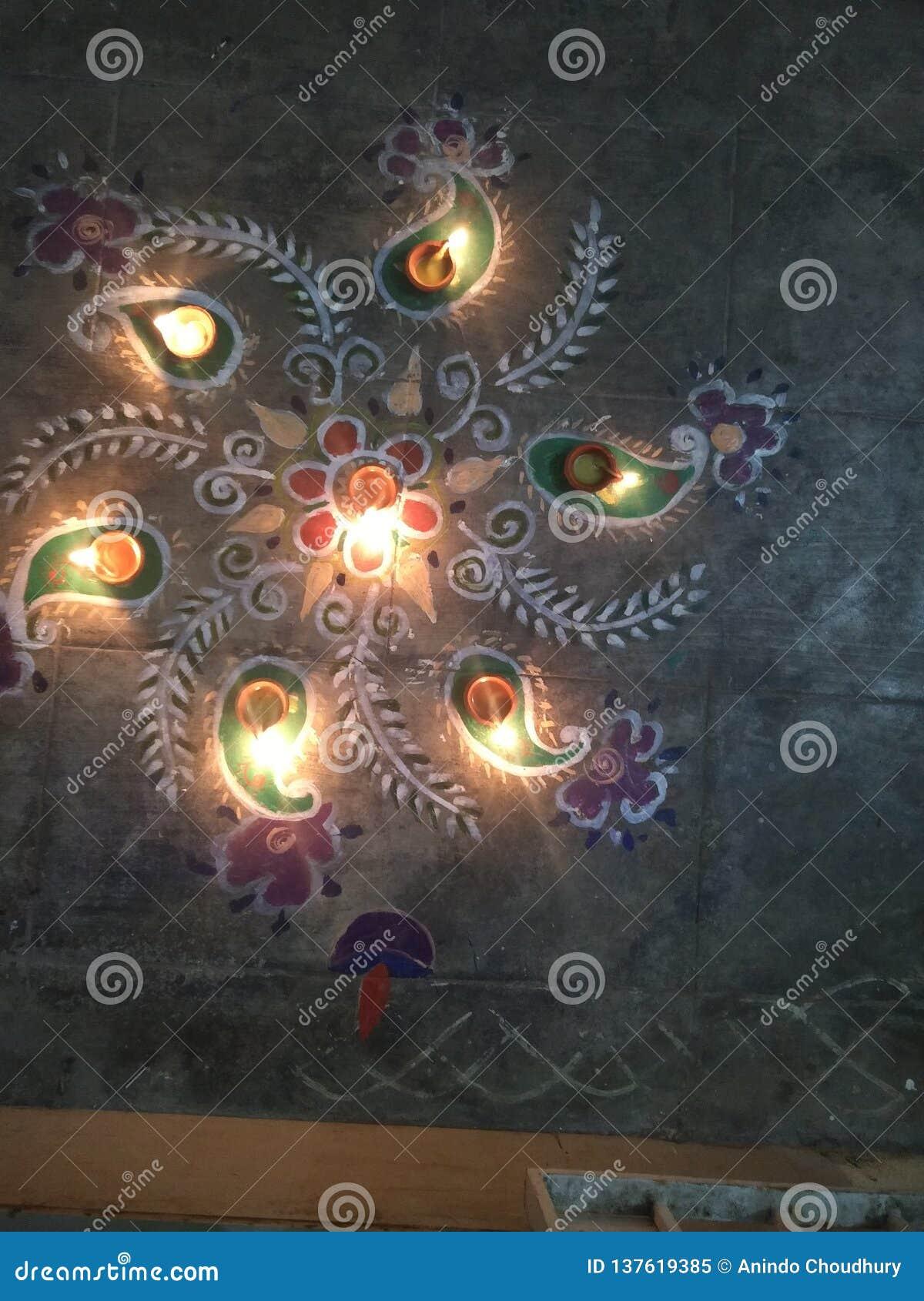 Diwali, ind, rangoli, lampy