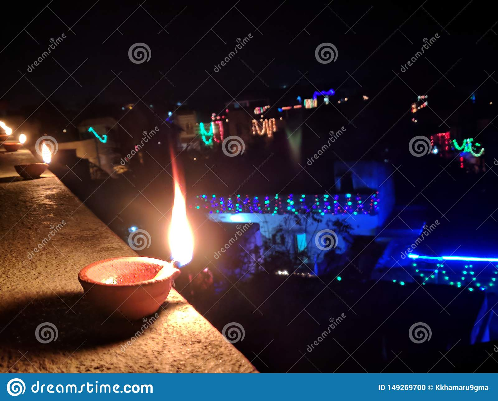 Diwali, noite, cena maravilhosa da noite, ama-o