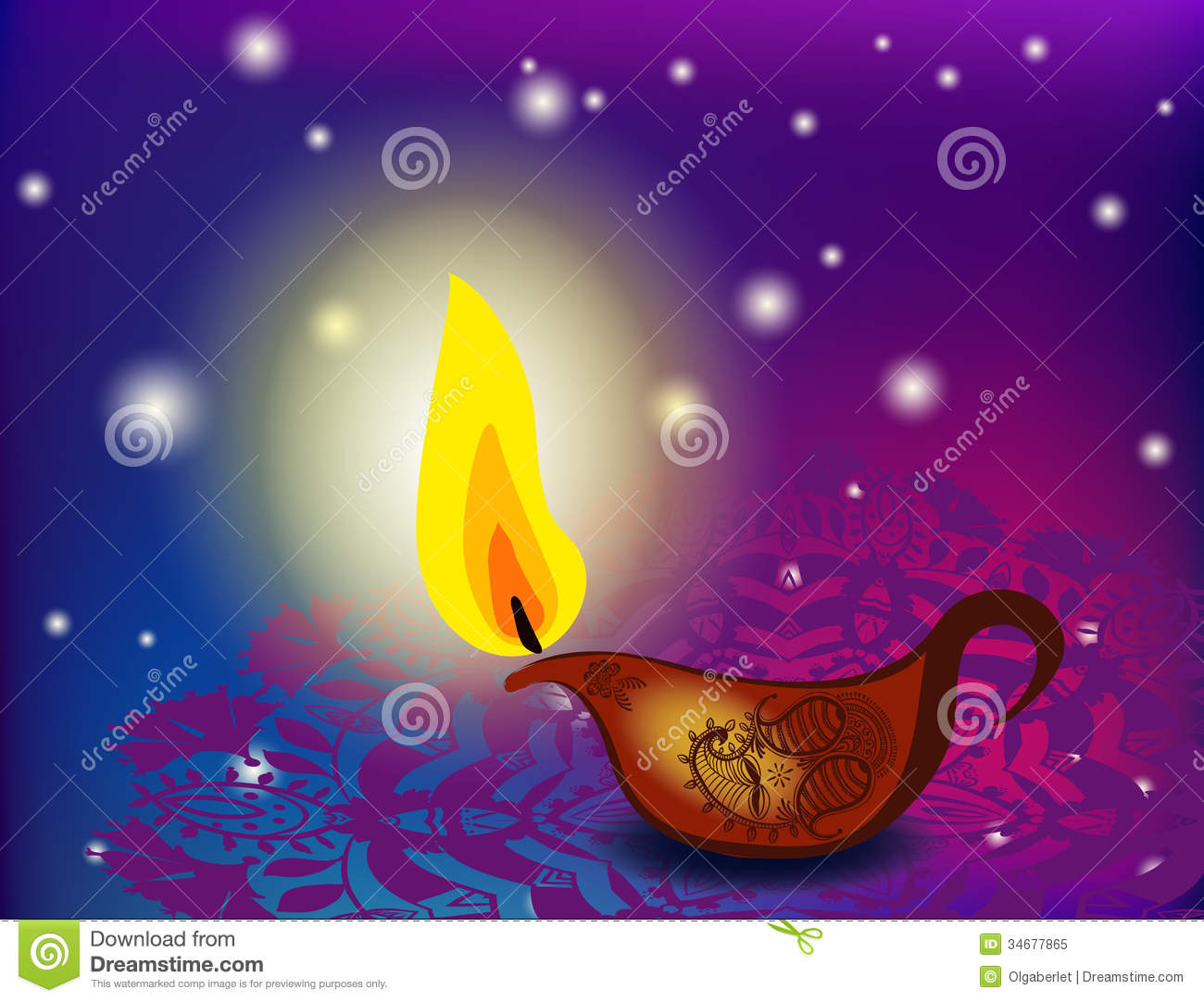 Diwali Oil Lamps Stock Illustration Of Celebration