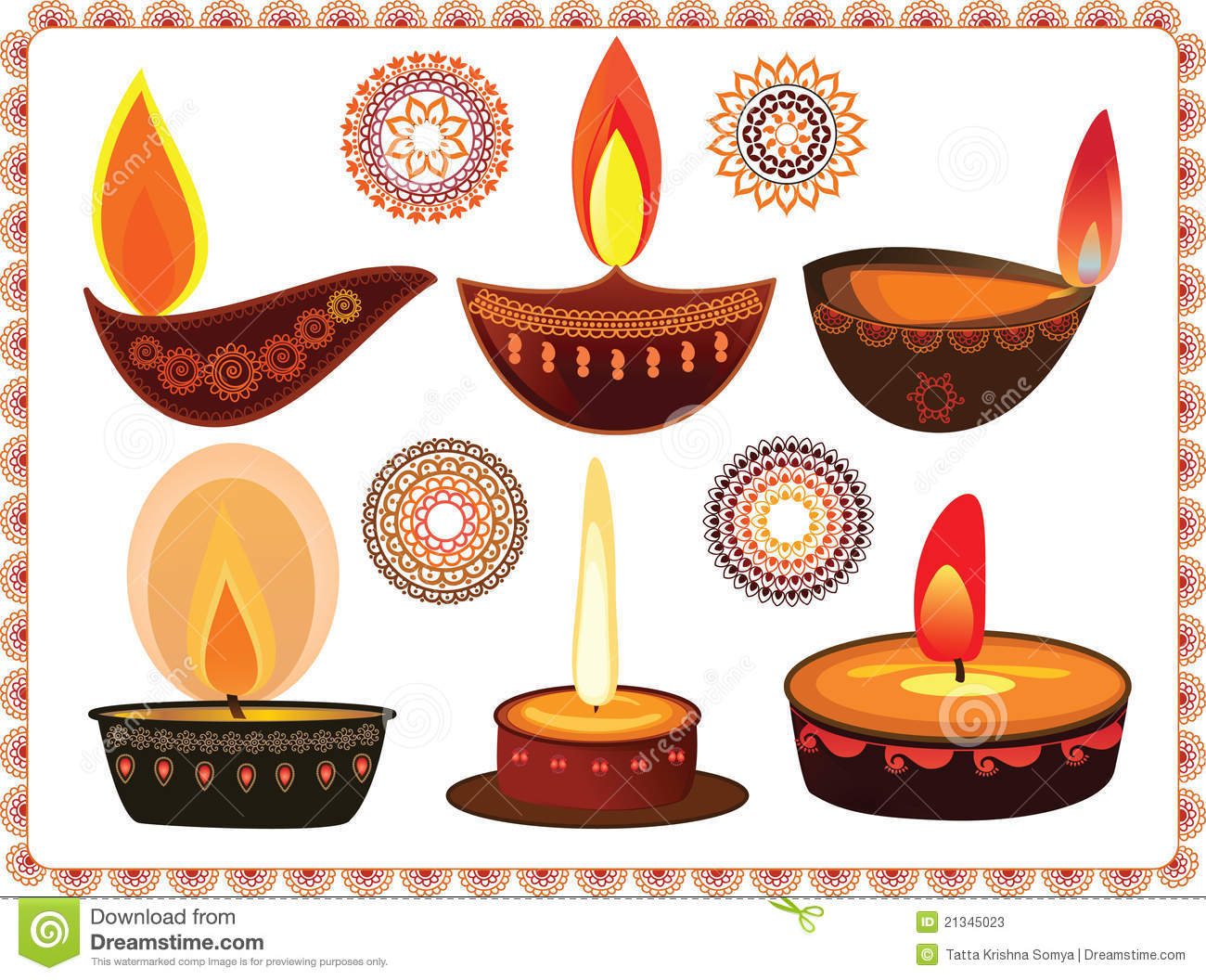 Diwali Oil Lamps With Mandala Design Stock Illustration ... for Diwali Lamp Designs  51ane