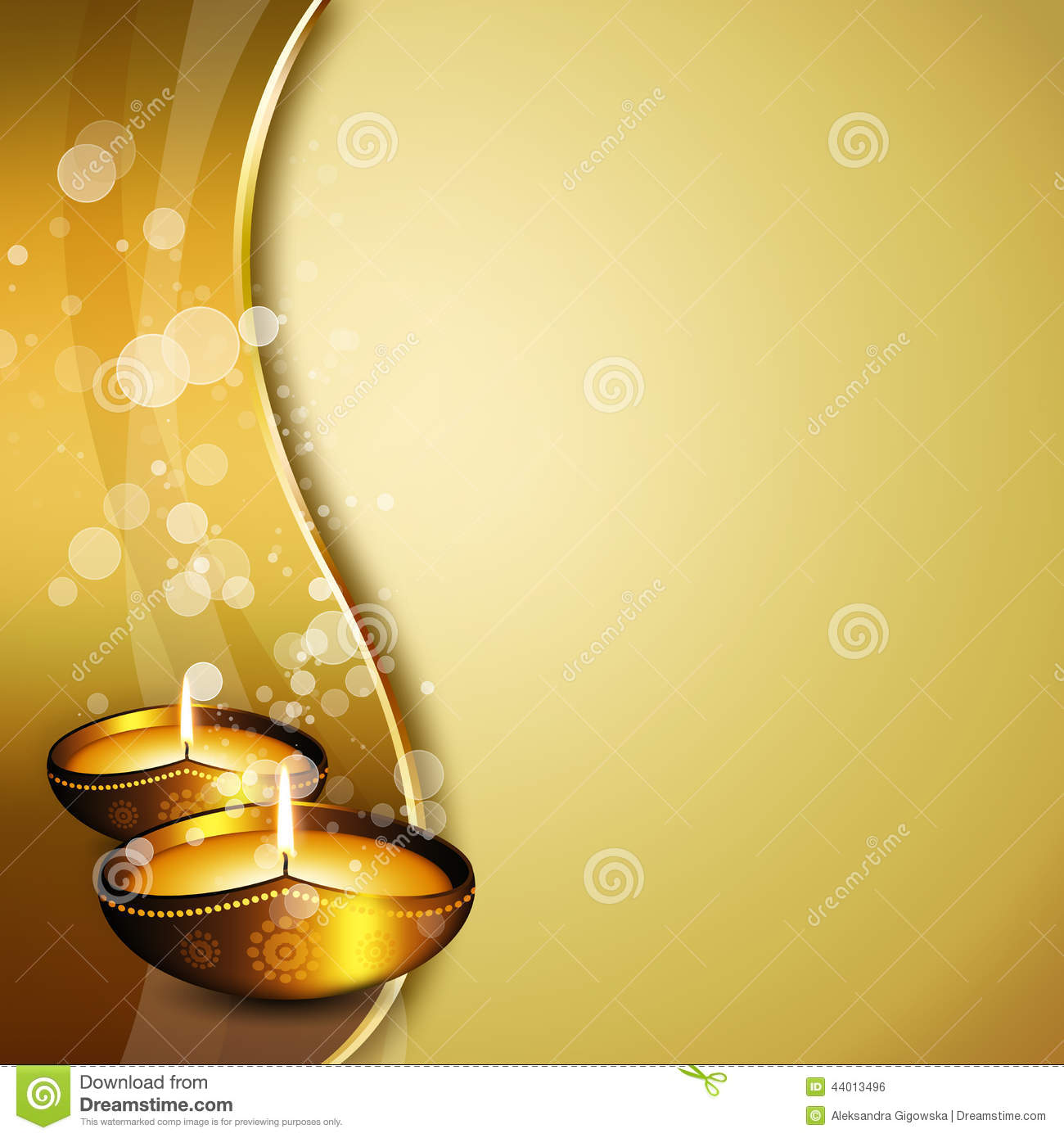 diwali oil lamps with place for text stock illustration