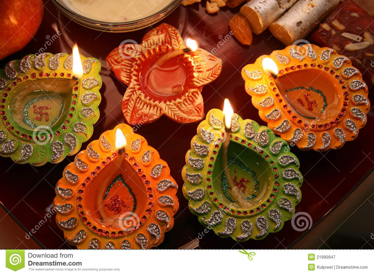 Diwali Thali With Decorated Diya