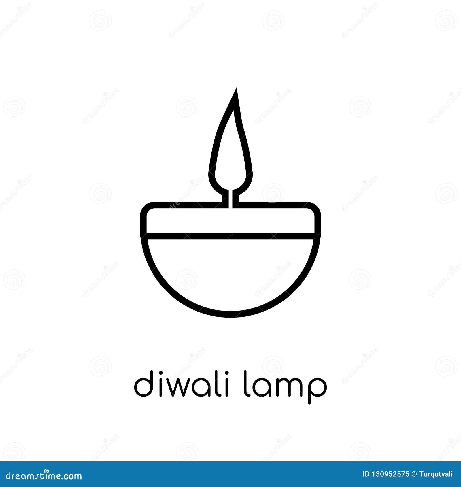 Diwalilampsymbol Moderiktig modern plan linjär vektorDiwali lampa I